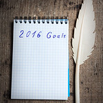 Notebook with old pen and goals of year 2016
